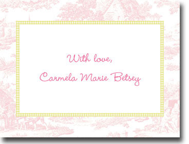 Toile Pink with Lime calling cards