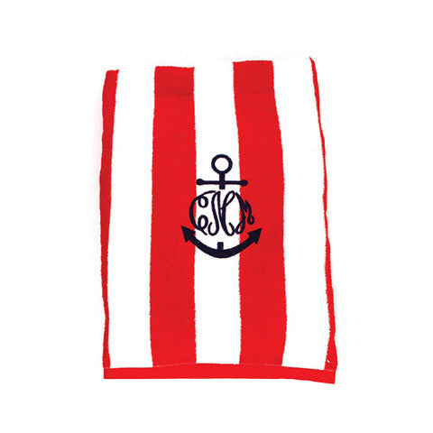 Anchor Embroidered Cabana Striped Beach Towels - Choose Color