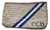 Vicki Hand Painted Stripe Straw Monogrammed Clutch