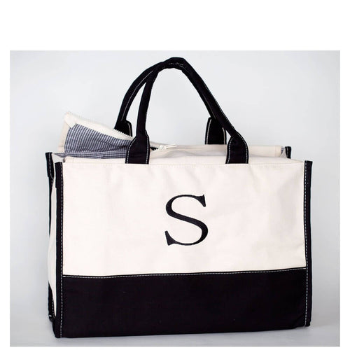 Vivera Tote Choose Color Black with Single Initial