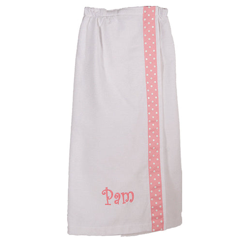 Monogrammed Spa Wrap White with Pink and White Polka Dot Trim