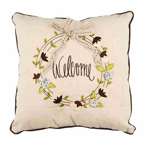 Welcome Wreath Pillow With Insert Set Of 2