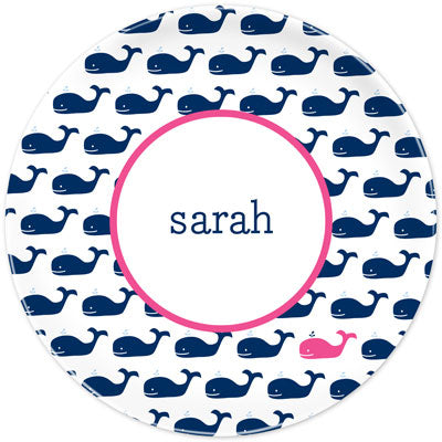 Set of 2 Personalized Plate Whale Repeat Navy
