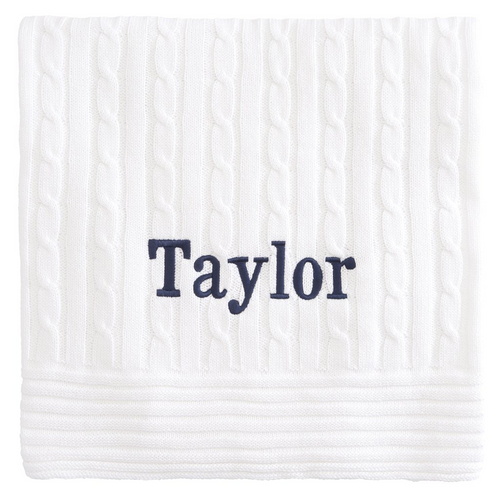 Classic Cotton Cable Knit Personalized Baby  Blanket White