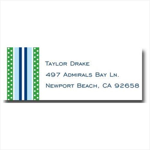 Grosgrain Blue And Green Personalized Address Label