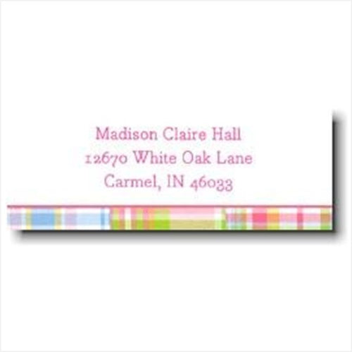 Pink Madras Patch Personalized Address Label