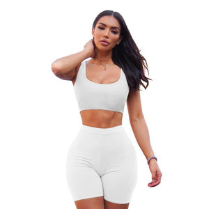 2 Piece Set Crop Tops & Biker Shorts Sweatsuits - SWANBOUTIQ