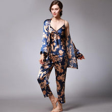 Load image into Gallery viewer, 3PC Blue V-Neck Satin Floral Print Pyjamas Set - SWANBOUTIQ