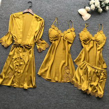 Load image into Gallery viewer, 4Pcs Yellow Gold Lingerie Set With Lace Embroidery - SWANBOUTIQ