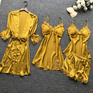 4Pcs Yellow Gold Lingerie Set With Lace Embroidery - SWANBOUTIQ