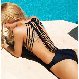 Backless Sport Swimsuit With Strings - SWANBOUTIQ