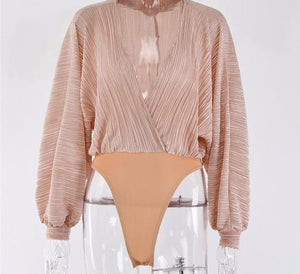 Beige Pleated Bodysuit - SWANBOUTIQ