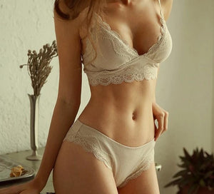 Seamless Floral Lace Padded Bra & Brief  Sets - SWANBOUTIQ