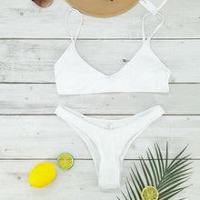 Load image into Gallery viewer, Brazilian Bikini Bathing Suit  High Cut Bottoms  Spaghetti Strap Shelf – 3 Colors - SWANBOUTIQ
