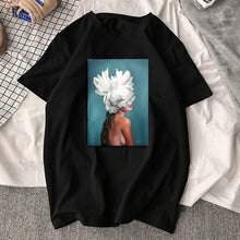 Load image into Gallery viewer, Sexy Flowers Feather Print T-Shirt - SWANBOUTIQ
