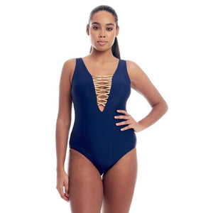 Cover Girl Women's Lace Up One-Piece Swimsuit - SWANBOUTIQ