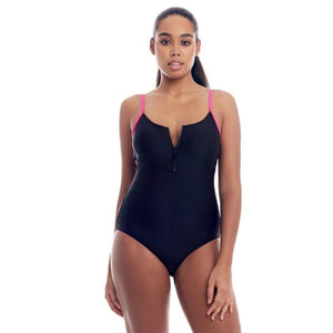 Cover Girl Women's One-Piece Swimsuit with Zip Up Front - SWANBOUTIQ