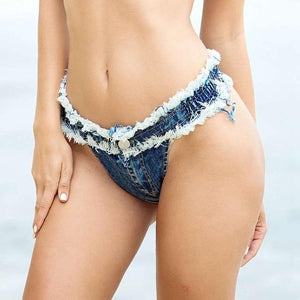 Denim Bra And Shorts - SWANBOUTIQ