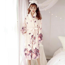 Load image into Gallery viewer, Pink Flannel Floral Print Kimono Robe - SWANBOUTIQ