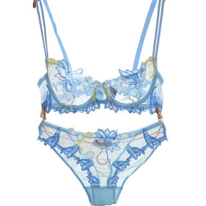 Floral Embroidery Lace Bra & Brief Lingerie Sets - SWANBOUTIQ