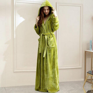Long Hooded Coral Fleece Dressing Robe - SWANBOUTIQ