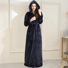 Load image into Gallery viewer, Long Hooded Coral Fleece Dressing Robe - SWANBOUTIQ