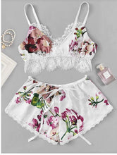 Load image into Gallery viewer, Lace Trim Floral Print Lingerie Sets - SWANBOUTIQ