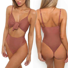 Load image into Gallery viewer, One Piece Belly Tie Front Knot Swimwear - SWANBOUTIQ