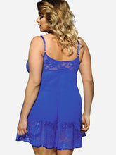 Load image into Gallery viewer, Blue Plus Size Spaghetti Strap Lace Panel Babydoll - SWANBOUTIQ