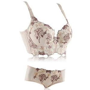 Floral Embroidery Push Up Bra & Brief Sets - SWANBOUTIQ