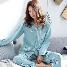 Load image into Gallery viewer, Blue Pattern Pyjamas Sets - SWANBOUTIQ