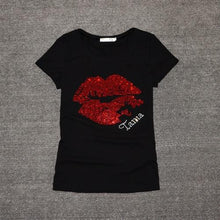 Load image into Gallery viewer, Sequins Lips T-Shirt - SWANBOUTIQ