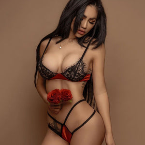 Sexy Red Lace Bra & Brief Set - SWANBOUTIQ