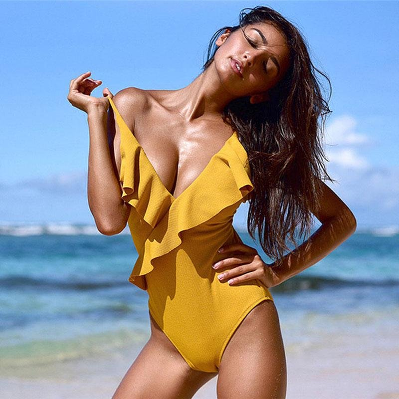 Sexy Yellow One Piece Swimsuit - SWANBOUTIQ