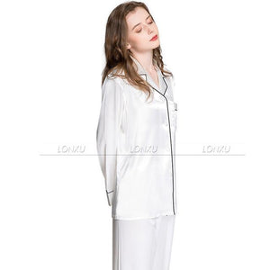Grey Silk Satin Pajamas - SWANBOUTIQ
