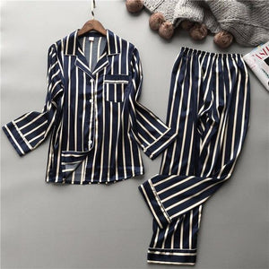 Black Stripe Pyjamas Set - SWANBOUTIQ