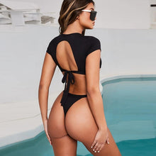 Load image into Gallery viewer, T-Shirt Crop Top & Thong Beach Sets - SWANBOUTIQ