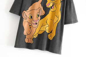 Women T Shirt Fashion Cartoon Lion king Print - SWANBOUTIQ