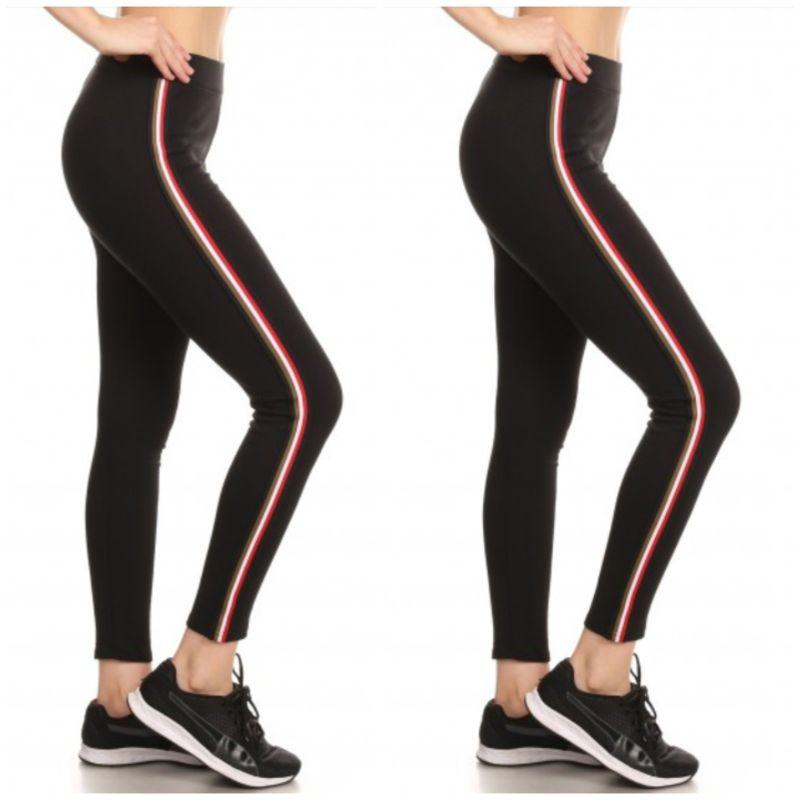 Women's Cotton Blend Active Side Stripe Leggings - 2 Pack - SWANBOUTIQ