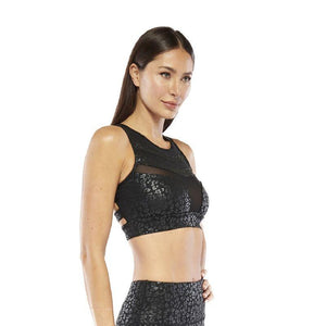 Women's Electric Yoga Black Foil Cheetah Sports Bra and Leggings - SWANBOUTIQ