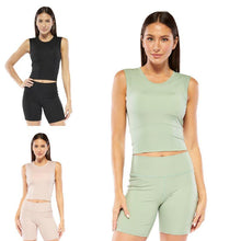 Load image into Gallery viewer, Women's Electric Yoga Cropped Top with Built in Padding - SWANBOUTIQ