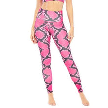 Load image into Gallery viewer, Women's Electric Yoga Pink Snake Skin Print Sports Bra and Leggings - SWANBOUTIQ