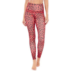 Women's Electric Yoga Red Leopard Print Sports Bra and Leggings - SWANBOUTIQ