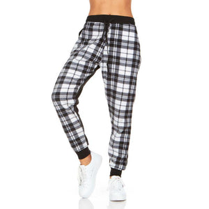 Women's Plaid Jogger Pants With Pockets - SWANBOUTIQ