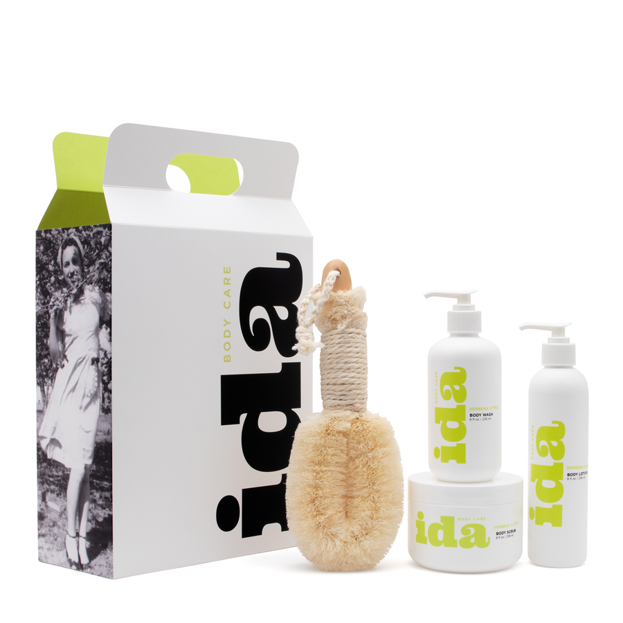 Ida Body Care 4 Step Body Treatment, Dry Skin Body Brush, Body Wash, Body Scrub, Body Lotion in 8oz. sizes