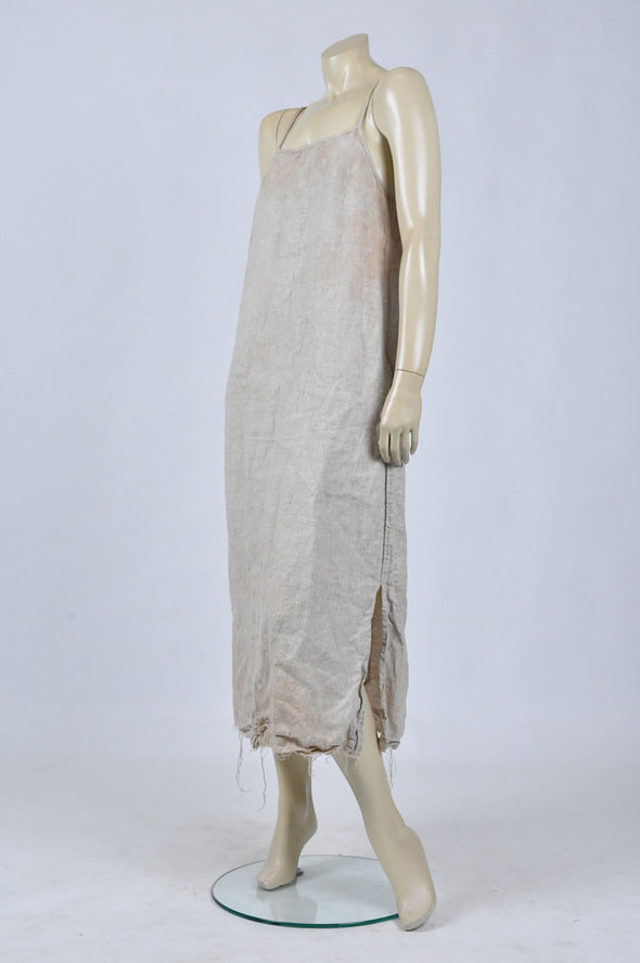 Amano long linen tea stained slip dress