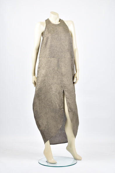 Tzusk Racer back linen dress in khaki