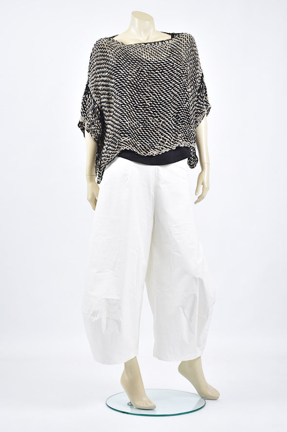 Amano linen crop in black natural and white