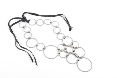 Monica Trevisi coil necklace large circles and leather