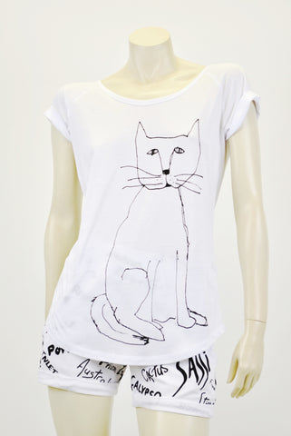 RCKP White tee shirt cat
